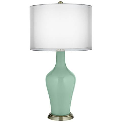 Grayed Jade Double Sheer Silver Shade Anya Table Lamp