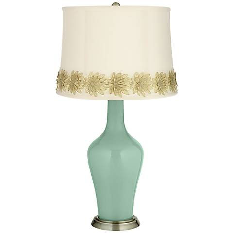 Grayed Jade Anya Table Lamp with Flower Applique Trim