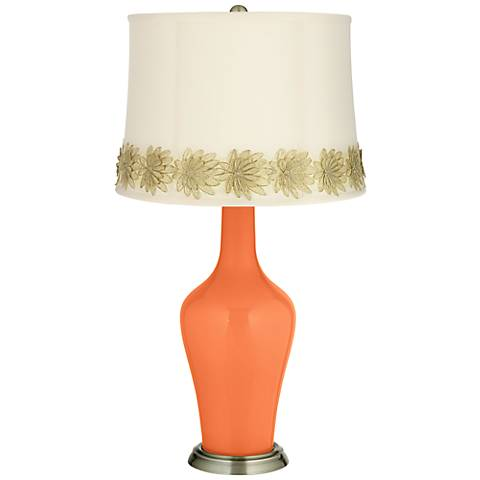 Nectarine Anya Table Lamp with Flower Applique Trim