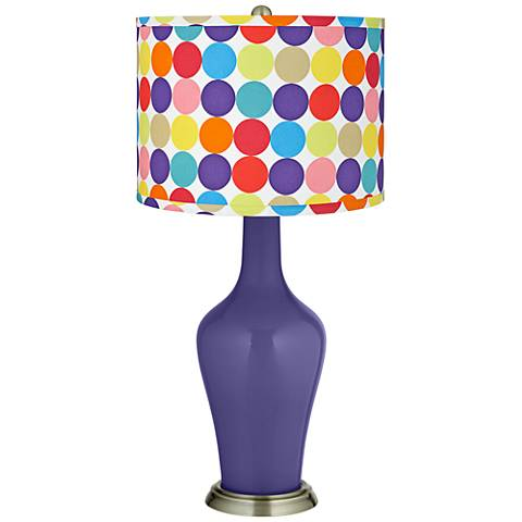 Valiant Violet Multi-Color Circles Shade Anya Table Lamp