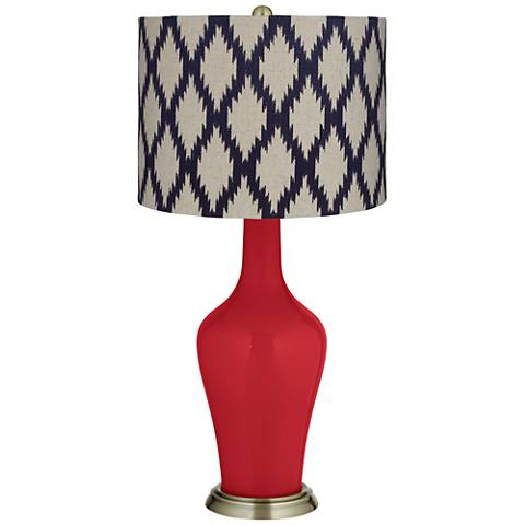 Ribbon Red Beige Diamonds Anya Table Lamp