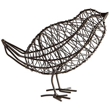"""Large Wired Bird 6 1/2"""" Wide Sculpture"""