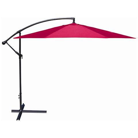 10-Foot Offset Umbrella in Red Polyester