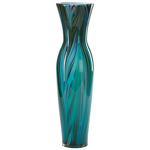 "Blue Peacock Feather Pattern 23"" High Glass Vase"