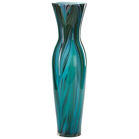 """Blue Peacock Feather Pattern 23"""" High Glass Vase"""