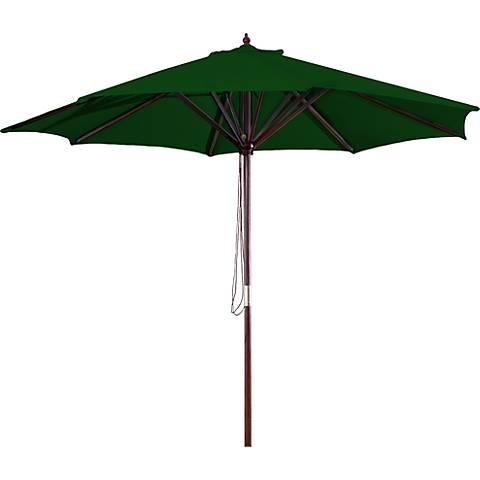 Green 9' Round Wooden Market Umbrella