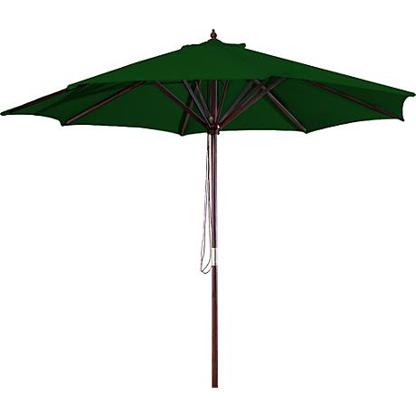 Green 9' Round Wooden Market Umbrella