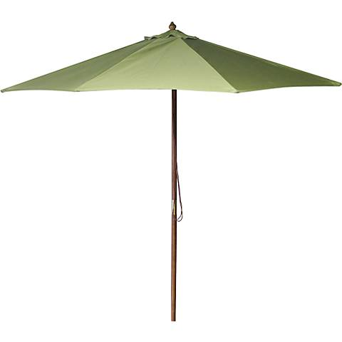 Olive 9' Round Wooden Market Umbrella