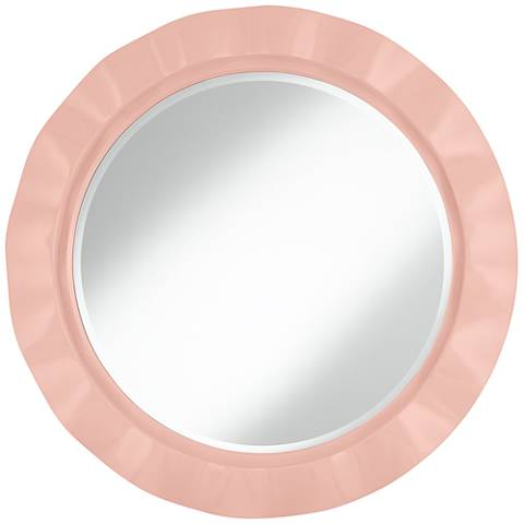 "Rose Pink 32"" Round Brezza Wall Mirror"