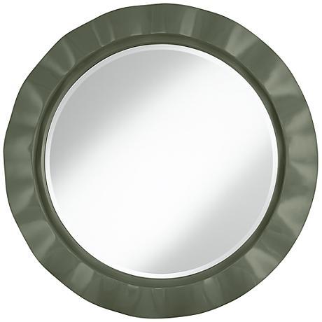 """Deep Lichen Green 32"""" Round Brezza Wall Mirror"""