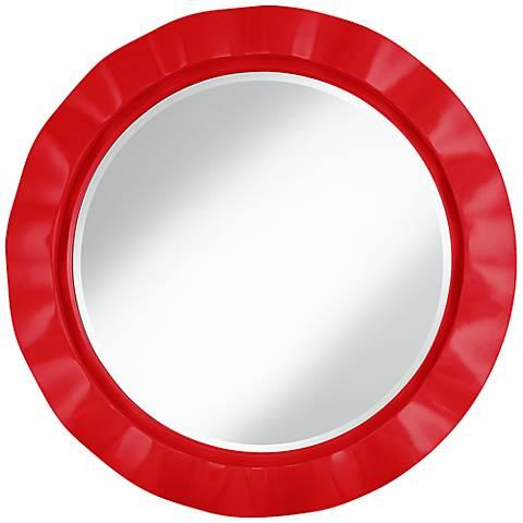 """Bright Red 32"""" Round Brezza Wall Mirror"""
