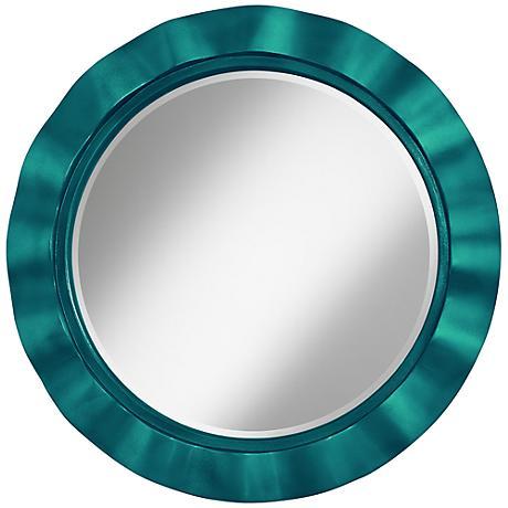 "Magic Blue Metallic 32"" Round Brezza Wall Mirror"