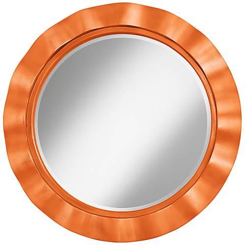 "Burnt Orange Metallic 32"" Round Brezza Wall Mirror"