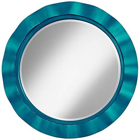 """Turquoise Metallic 32"""" Round Brezza Wall Mirror"""