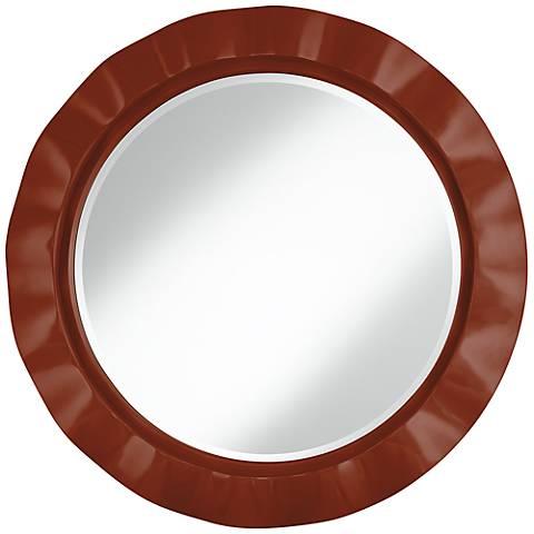"Fired Brick 32"" Round Brezza Wall Mirror"