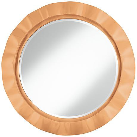 """Soft Apricot 32"""" Round Brezza Wall Mirror"""