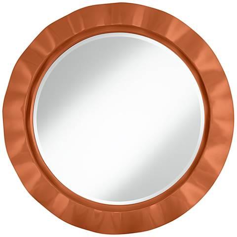 """Robust Orange 32"""" Round Brezza Wall Mirror"""
