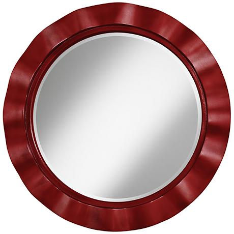 "Cabernet Red Metallic 32"" Round Brezza Wall Mirror"