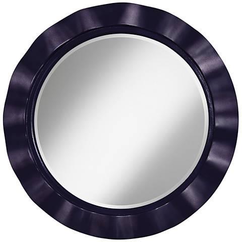 "Midnight Blue Metallic 32"" Round Brezza Wall Mirror"