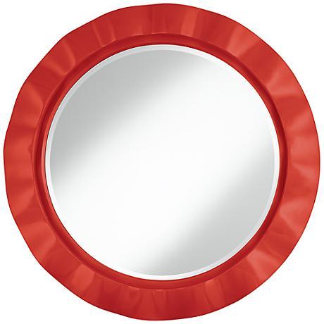 "Cherry Tomato 32"" Round Brezza Wall Mirror"