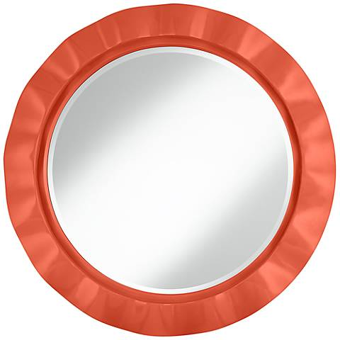 "Daring Orange 32"" Round Brezza Wall Mirror"