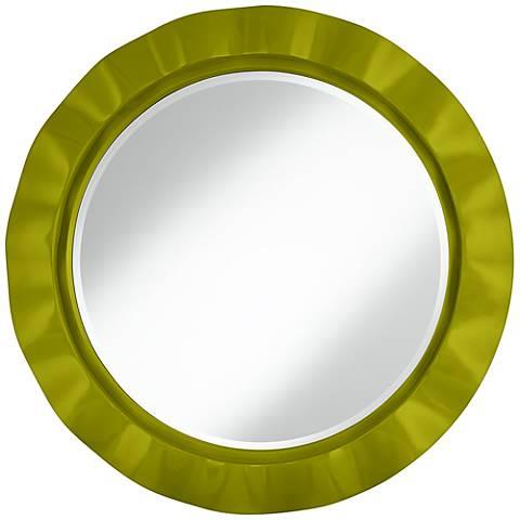 "Olive Green 32"" Round Brezza Wall Mirror"
