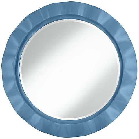 "Secure Blue 32"" Round Brezza Wall Mirror"