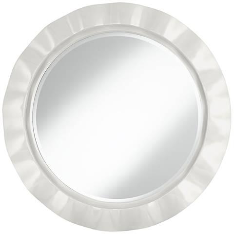 "Winter White 32"" Round Brezza Wall Mirror"