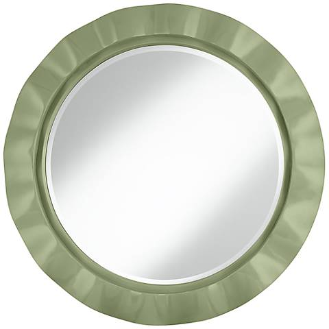 """Majolica Green 32"""" Round Brezza Wall Mirror"""