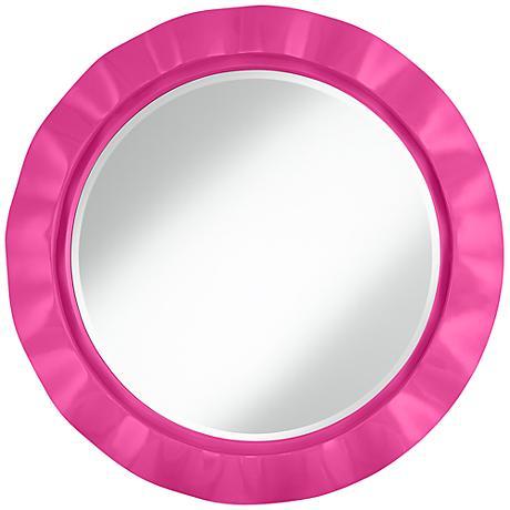 "Fuchsia 32"" Round Brezza Wall Mirror"