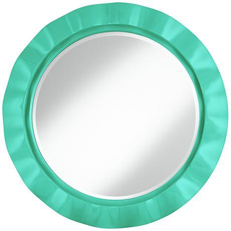 """Turquoise 32"""" Round Brezza Wall Mirror"""