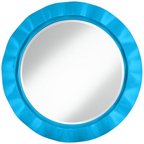 "Sky Blue 32"" Round Brezza Wall Mirror"