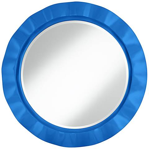 "Royal Blue 32"" Round Brezza Wall Mirror"