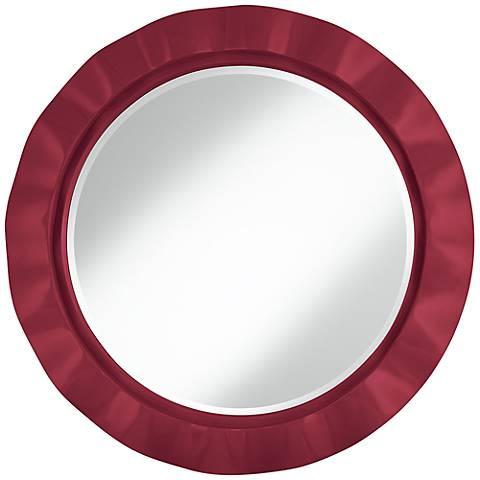 "Antique Red 32"" Round Brezza Wall Mirror"
