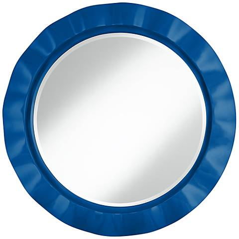 "Hyper Blue 32"" Round Brezza Wall Mirror"