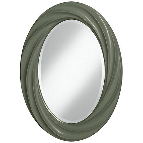 "Deep Lichen Green 30"" High Oval Twist Wall Mirror"