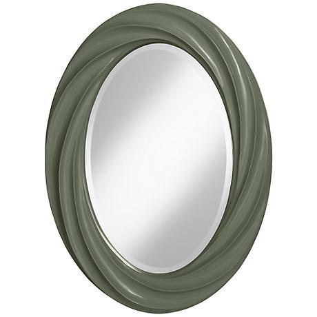 "Deep Lichen Green 30"" High Oval Twist Wall Mirror"