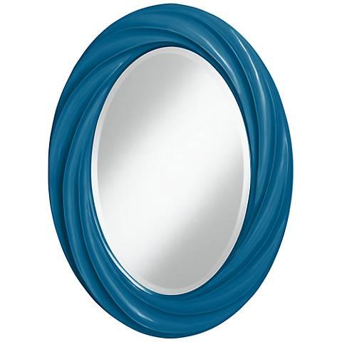 """Mykonos Blue 30"""" High Oval Twist Wall Mirror"""