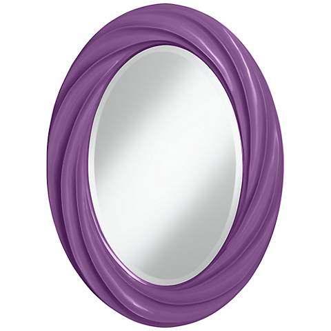 "Passionate Purple 30"" High Oval Twist Wall Mirror"