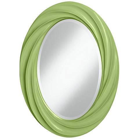 """Lime Rickey 30"""" High Oval Twist Wall Mirror"""