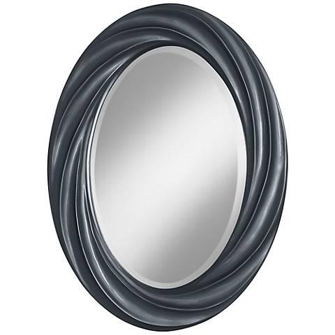 "Gunmetal Metallic 30"" High Oval Twist Wall Mirror"