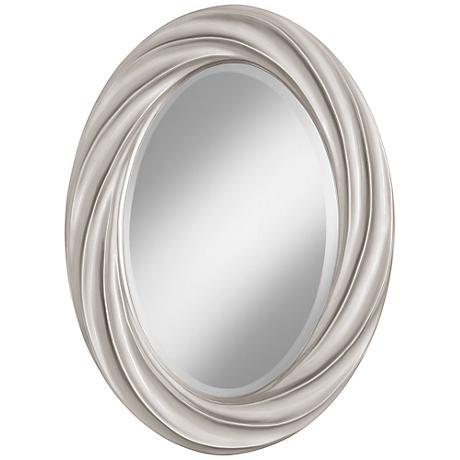 "Silver Lining Metallic 30"" High Oval Twist Wall Mirror"
