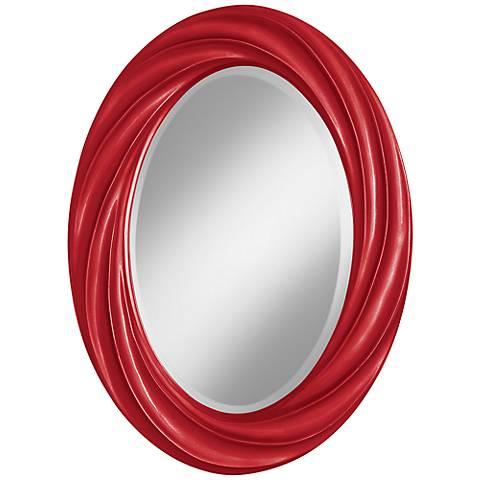 "Sangria Metallic 30"" High Oval Twist Wall Mirror"