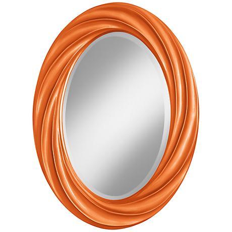 "Burnt Orange Metallic 30"" High Oval Twist Wall Mirror"