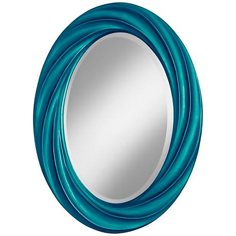 "Turquoise Metallic 30"" High Oval Twist Wall Mirror"