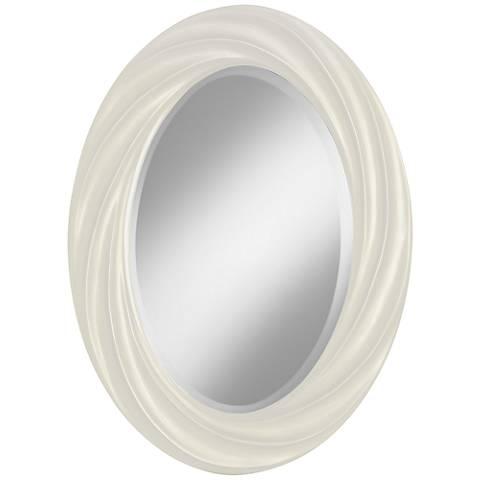"Vanilla Metallic 30"" High Oval Twist Wall Mirror"