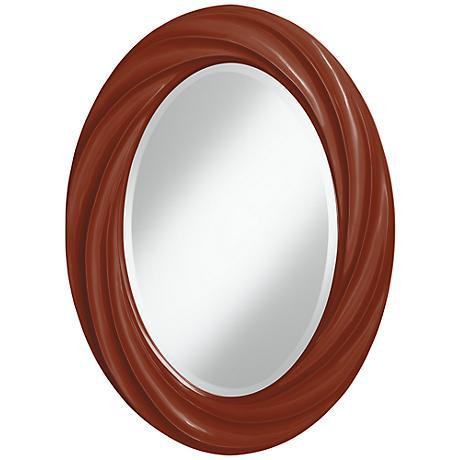 """Fired Brick 30"""" High Oval Twist Wall Mirror"""