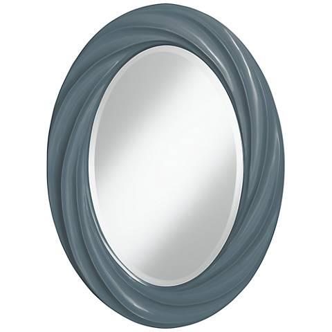 "Smoky Blue 30"" High Oval Twist Wall Mirror"