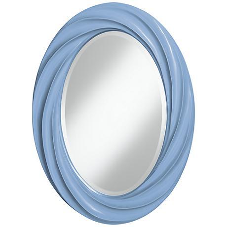 "Placid Blue 30"" High Oval Twist Wall Mirror"
