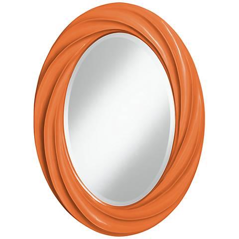 "Celosia Orange 30"" High Oval Twist Wall Mirror"